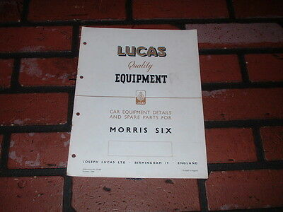 Genuine Morris Six Lucas Spare Parts List & Wiring Diagram.1949.
