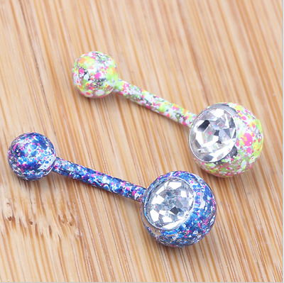 Surgical Clear Crystal Belly Bars Jewellery Navel Button Ring Gem Body Piercing