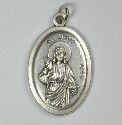 SAINT LUCY Medal Pendant, SILVER TONE, 22mm X 15mm, MADE IN ITALY
