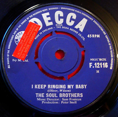 "Soul Brothers I Keep Ringing My Baby 7""UK '65 Soul/Mod Decca Can't Take It VINYL"