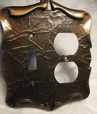 Vintage Scroll Brass Tone Metal Electric Wall Double Switch Outlet Plate Cover