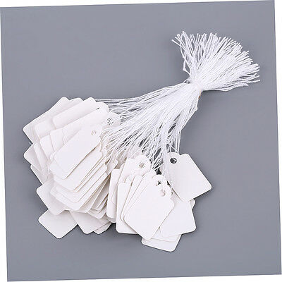 Rectangular Blank White 925 Silver Price Tag 100Pcs With String Jewelry Label MQ