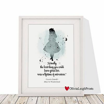 Alice In Wonderland Word Art Quote Watercolour Art Print-Wall Art-Gift-Nursery