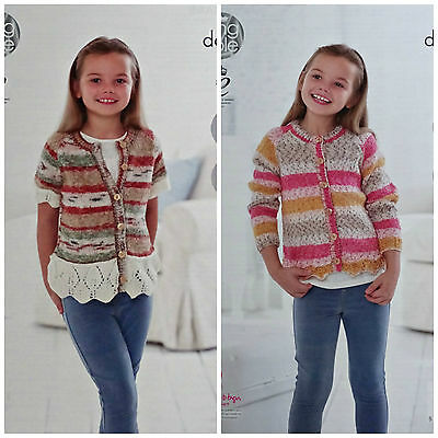KNITTING PATTERN Girls Easy Knit Short & Long Sleeve Leaf Frill Cardigan DK 4782