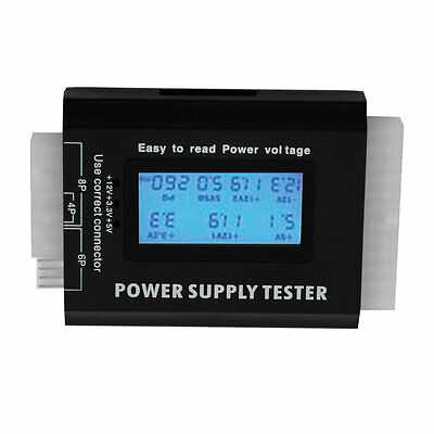Digital LCD PC Computer PC Power Supply Tester 20/24 Pin SATA HDD Testers O9