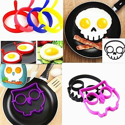 Silicone Skull Egg Fried Frying Mould Funny Breakfast Pancake Mold Ring O9