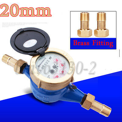 "3/4""20mm Brass Flow Measure Tape Water Meter Copper Cold Dry Counter Home&Garden"