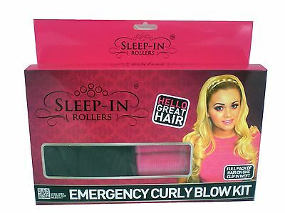 SLEEP-IN ROLLERS Emergency Kit (10 rollers + Clip on Hair) choose your colour