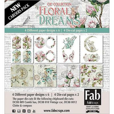 "Fabscraps Floral Dreams Card Kit 6x6"": 24 Papiere 15,2 cm + 22 Stanzteile"