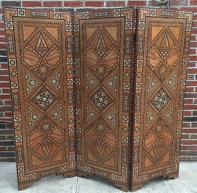 Middle Eastern MOROCCAN/SYRIAN Moorish Three Panel Screen Divider