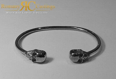 Unsiex Solid Sterling STAMPED 925 Silver Highly Polished Skull Bangle 19 grams