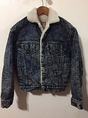Vtg Levis Sherpa Acid Wash Denim Jacket Youth Boys Sz L Trucker Kids