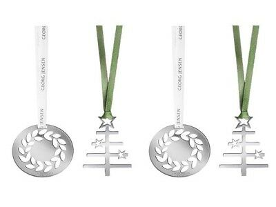 4 Georg Jensen Christmas Decorations set SILVER + ribbons Tree & Wreaths NEW