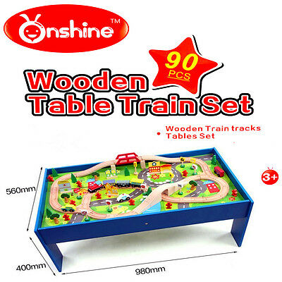 Kid Gift Educational Pretend Toy Wooden Table Top Free Standing Train Set 90pcs