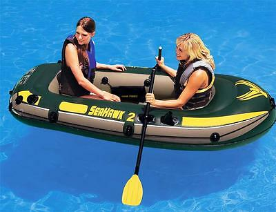 New Intex Inflatable SeaHawk 2 Person Fishing Boat Raft Set (#68347)