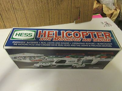 2001 Hess Toy Helicopter W/ Motorcycle & Cruiser NIB 1pc. W/ Original Hess Bag