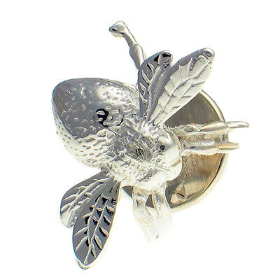 Sterling 925 British Silver, Unisex Lapel Pin Stud Brooch, Queen Bee, Bumblebee