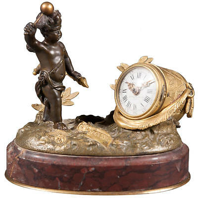 19th Century French Gilt Bronze and Rouge Marble Desk Clock