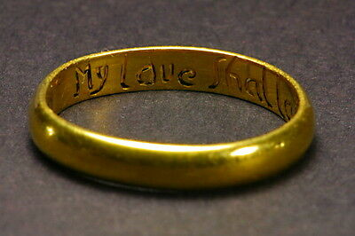 ANTIQUE ENGLISH 22K GOLD 18th C POSY RHYME SENTIMENTAL RING MY LOVE SHALL LAST