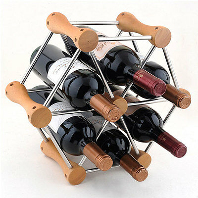 6 Bottles Wood Wine Rack Free Standing Kitchen Stand Bar Storage 3332U