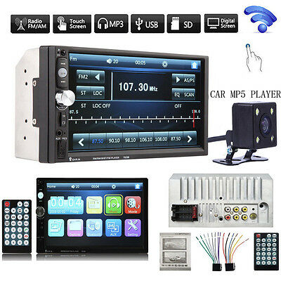 "7""Double 2Din In Dash Stereo Car MP5 Player Bluetooth Touch FM Radio+Rear Camera"