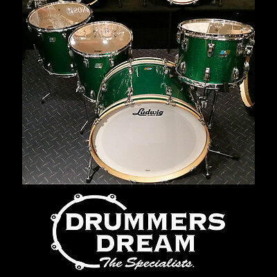 """Ludwig Classic Maple 4 Piece Drum Kit Shell Set Green Sparkle with 26"""" Bass Drum"""