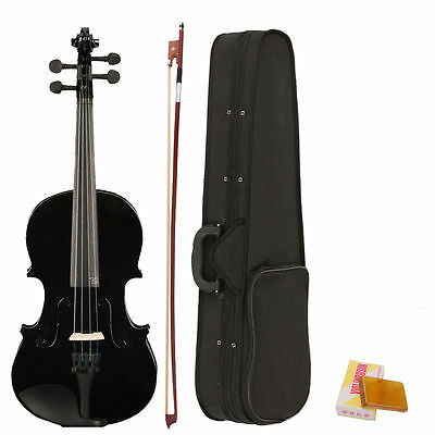 4/4 Full Size Acoustic Violin Fiddle Black with Case Bow Rosin CT