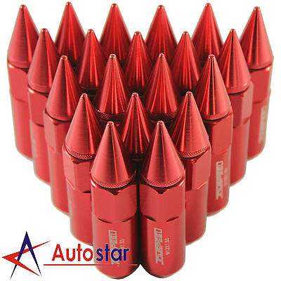 20pcs Red Cap Spiked Extended Tuner Aluminum 60mm M12XP1.5 Wheels Rims Lug Nuts