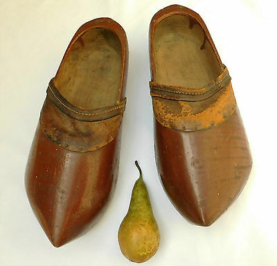 Vintage wooden Dutch clogs Carved wood and leather Adult size