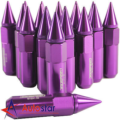 20PCS Purple Cap Spiked Extended Tuner Aluminum M12X1.5 60mm Wheel Rim Lug Nuts