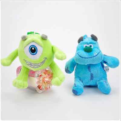 """2 Styles Disney Monsters Inc Mike Sullivan 4""""/10cm Soft Plush Toys With Chain"""