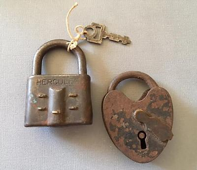 Antique vtg 2 LOCKS WITH KEY~hercules~heart shape
