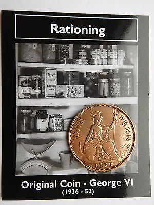 Original One Penny Coin George V1 (1936 - 1952) Rationing On Information Card