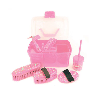Pink Lincoln Kids Star Pattern Grooming Kit ( horse pony childs kids box  )