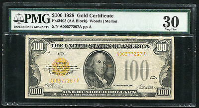 Fr. 2405 1928 $100 One Hundred Dollars Gold Certificate Pmg Very Fine-30