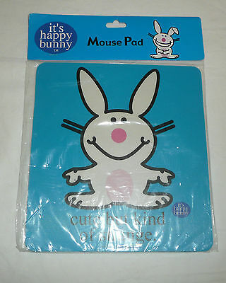 It's Happy Bunny Blue MOUSE PAD - Cute But Kind Of Strange - Jim Benton Insult