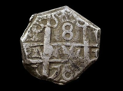 Spain, Charles Iii, 8 Reales 1765/4 Overdate Potosi Mint Cob Coin