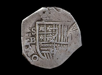 Scarce, Spain, 2 Reales, Philip Iii Seville Mint Cob Coin
