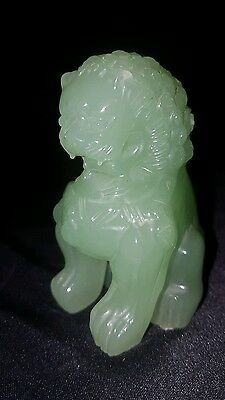 ANTIQUE CHINESE  hand carved  green JADE  STATUE  of  FOO  DOG - 3""""