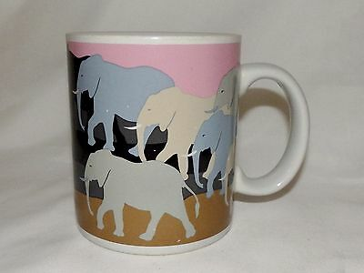 Vintage Otagiri Japan Elephant Walk Tom Taylor Elephants Coffee Mug