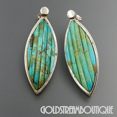 Navajo Sterling Silver Turquoise Cobblestone Inlay Marquise Post Earrings