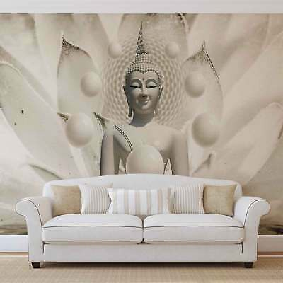WALL MURAL PHOTO WALLPAPER XXL Buddha White Flower Peaceful (3179WS)