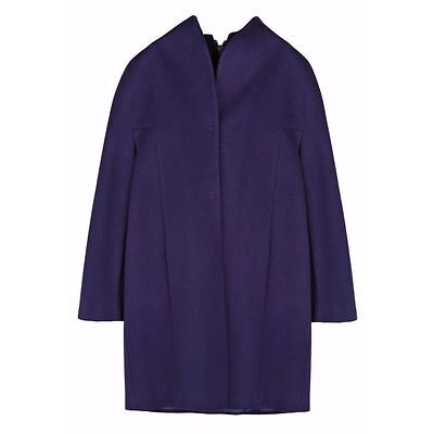 Elie Tahari Dalia Dark Purple Wool Plus-size Coat