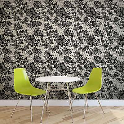 WALL MURAL PHOTO WALLPAPER XXL Lace Pattern Black White (2528WS)
