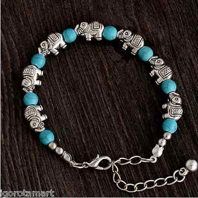 New Lady Girl's Elephant Beads Adjustable Chain Turquoise Bead Bracelet UK Post