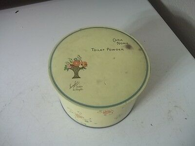 Vintage Cara Nome Tin Toilet Powder Box Old Advertising Can AND CONTENTS