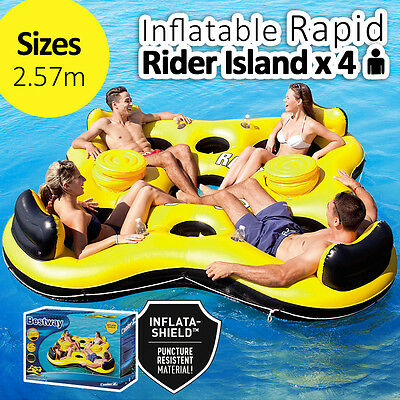 257CM BESTWAY Inflatable Rapid Rider x 4 Island Lounger Float Pool Summer Fun