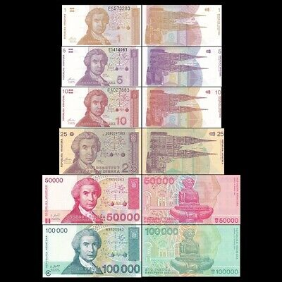Croatia 7 Piece Unc Banknote Set, 1 To 100,000 Dinara