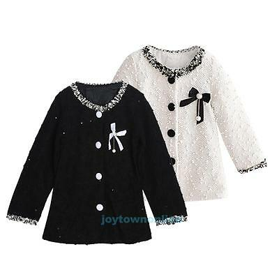 Child Infant Baby Girls Winter Warm Bowknot Coat Outerwear Jacket Clothes Outfit