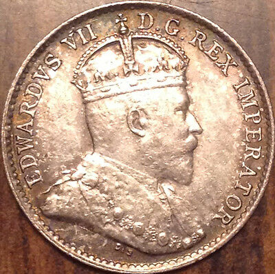 1910 Round Leaves Canada Silver 5 Cents Super Scarce Coin In Scarce Condition !